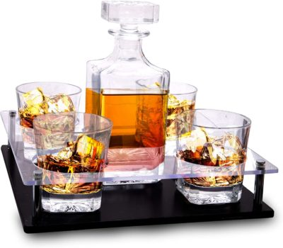 Bezrat Old Fashioned Decanter & Whiskey Glasses Set
