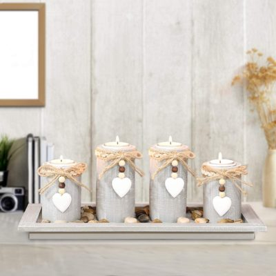 Candle Holder Set of 4 with Wodden Tray