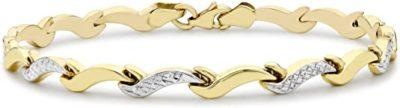 Carissima Gold 9 ct 2 Colour Gold Diamond Cut Wave Link Bracelet