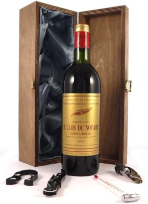 Chateau Clos du Notaire 1980 Bordeaux Vintage Wine in the real wood silk lined box