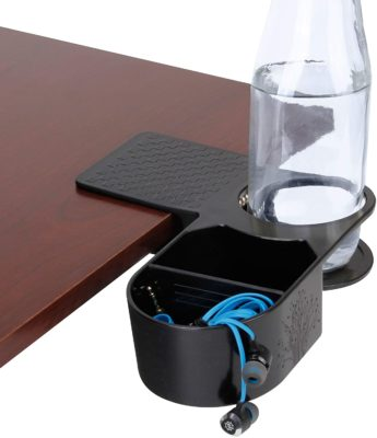 Cup Holder Clip on Desktop Clamp with Organizer Tray