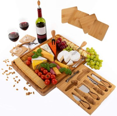 Extra Large Bamboo Cheese Board Serving Platter Set