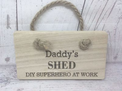 Hand Crafted Daddy's Man Shed DIY SuperHero Sign
