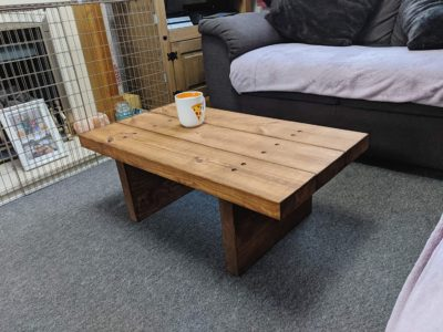 Handmade wooden chunky coffee table