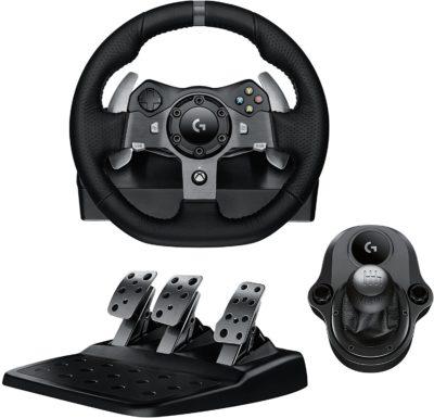 Logitech G920 Driving Force Racing Wheel & Pedals Plus Gear Shifter Bundle