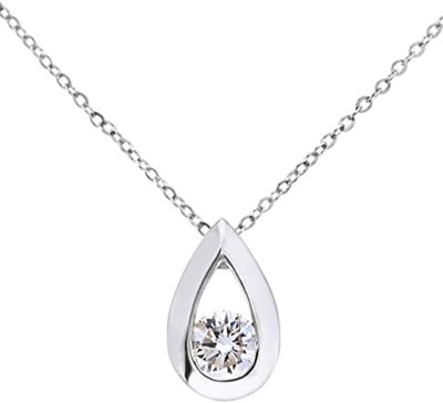Naava Women's 9 ct White Gold 0.33 ct Round Brilliant Diamond Teardrop Pendant