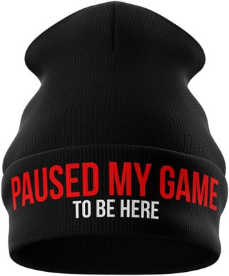 Paused My Game to be here Funny Beanie Hat