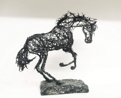 Small Equestrian Sculpture of a Rearing Black Horse