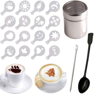 Stainless Steel Chocolate Shaker Duster + 16 Cappuccino Coffee Barista Stencils