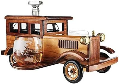 Whisky Decanter Set Gift with Crystal Glasses and Old Fashioned Vintage Car Stand