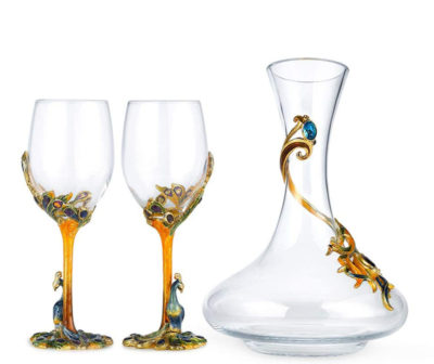 creative peacock wine glasses and decanter